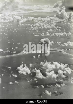 The ABLE test of Operation Crossroads, July 1, 1946. The bomb was dropped from a B-29 and detonated at 520 feet. - Stock Photo