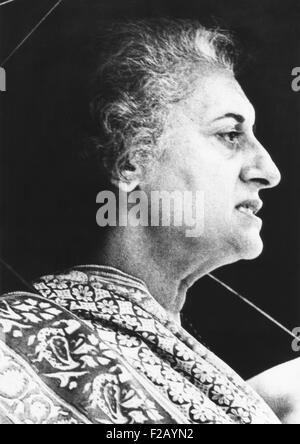 India's Prime Minister Indira Gandhi speaks to supporters on June 18, 1975. Six days earlier, the High Court of - Stock Photo