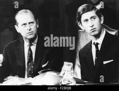 Prince Philip and his 21 year old son, Charles, the Prince of Wales. Nov. 9. 1970. They attended the final session - Stock Photo