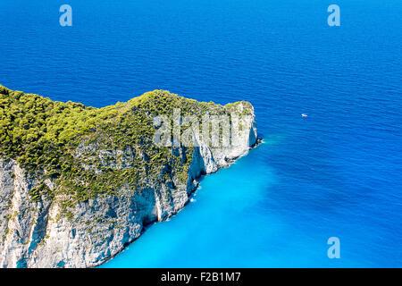Beautiful view of Navagio Beach in Zakynthos, Greece - Stock Photo