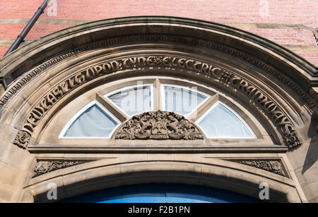 Newcastle upon Tyne City crest appearing over the door to the Newcastle Electric Tramways building north east England, - Stock Photo