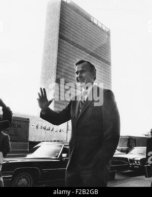 U.S. Ambassador George Bush before his last official appearance at the UN on Jan. 16, 1973. President Nixon named - Stock Photo