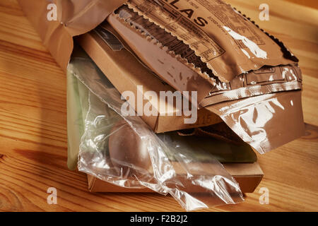 A United States Govenment issued complete meal called an 'MRE.' They are used both by the military and emergency - Stock Photo