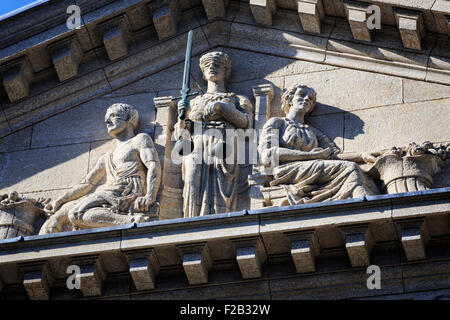 Scales of Justice on Manitoba Law Courts Building, Winnipeg, Manitoba, Canada - Stock Photo