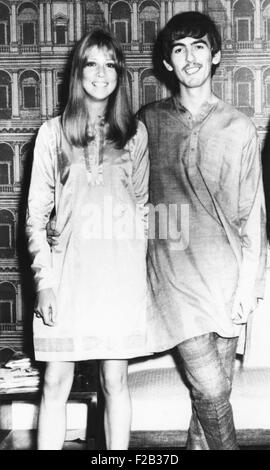 George Harrison and wife Pattie wearing traditional Indian outfits in Mumbai (Bombay), India. Sept 29, 1966. George - Stock Photo