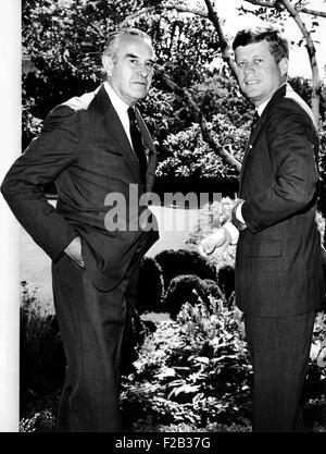 President John Kennedy and Averill Harriman outside the President's West Wing office. July 18, 1963. In addition - Stock Photo