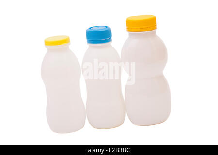 Biotic Yogurt Drink Bottles Isolated On White Background - Stock Photo