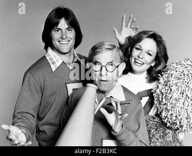 Bruce Jenner, George Burns and Phyllis George. The Olympic Champion, Veteran Comedian, and 1971 Miss America appeared - Stock Photo