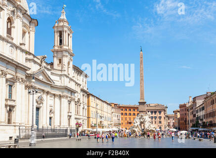 Sant'Agnese in Agone church in the Piazza Navona Rome italy Roma lazio italy eu europe - Stock Photo