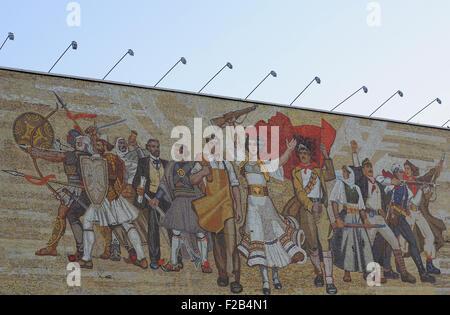 The Albanians mosaic on the front of the Albanian National Historical Museum, Muzeu Historik Kombëtar, in Tirana. - Stock Photo