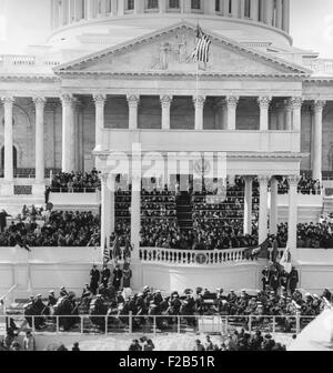 Inauguration of John Kennedy at East Portico, U.S. Capitol Building. President John F. Kennedy delivering his Inaugural - Stock Photo