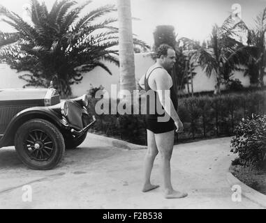 Chicago gangster Al Capone wearing a bathing suit at his Florida home. Ca. 1929-31. - (BSLOC_2015_1_11) - Stock Photo