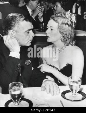 Clark Gable and Sylvia Ashley Alderly in a Los Angeles Night Club before their marriage. They wed shortly after - Stock Photo