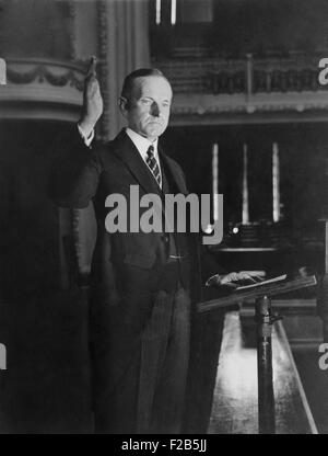 Calvin Coolidge accepting the Presidential nomination of the Republican Party. Aug. 14, 1924. Nominated in the June - Stock Photo