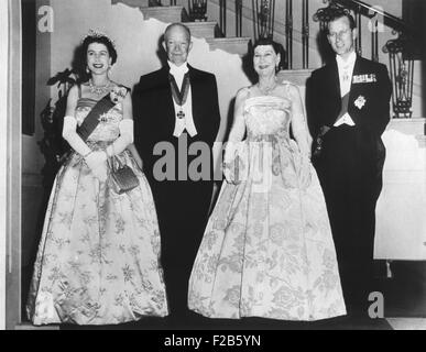 Queen Elizabeth II, President and Mrs. Eisenhower, and Prince Philip before a State Dinner. The White House. Oct. - Stock Photo