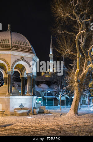 The Kaiser Wilhelm II fountain with the Sultan Ahmet or Blue mosque in the background.  Hippodrome, Sultanahmet, - Stock Photo