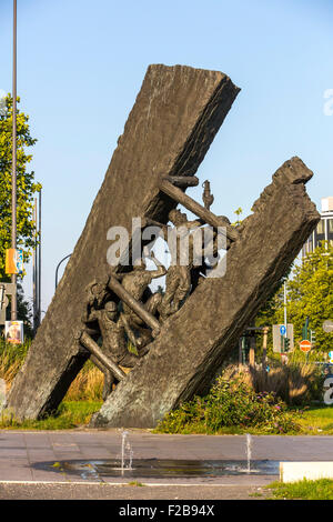 Monument 'Steile Lagerung', reminds the coal mining history in the city of Essen, in the Ruhr area, - Stock Photo