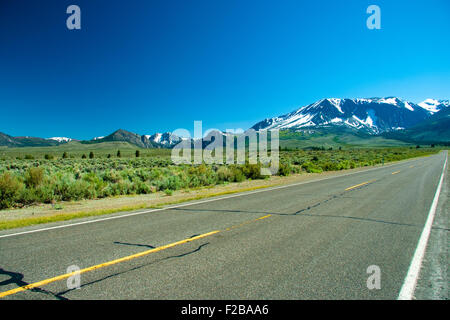 Scenic view of June Lake Loop highway near to Yosemite Tioga Pass, California, U.S.A. - Stock Photo