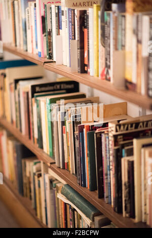 Three shelves of well read paperback books in a Kindle free study - Stock Photo