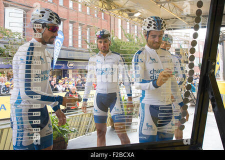 Cyclists from Team Novo Nordisk sign on before stage 6 of the 2015 Aviva Tour of Britain between Stoke-on-Trent - Stock Photo