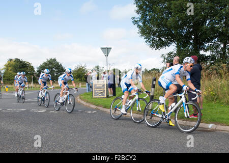 Cyclists from Team Novo Nordisk compete in stage 3 of the Aviva Tour of Britain between Cockermouth & Kelso, 8 September - Stock Photo