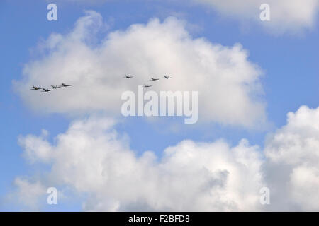 . 75th Anniversary Battle of Britain,  Amazing scenes in the sky above Goodwood Aerodrome today  A flypast involving - Stock Photo