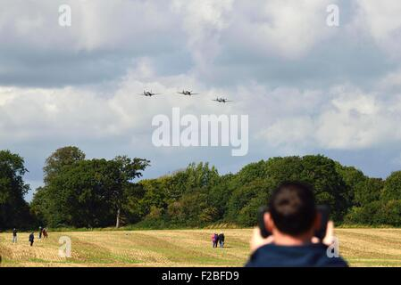 75th Anniversary Battle of Britain,  Amazing scenes in the sky above Goodwood Aerodrome today .- A flypast involving - Stock Photo