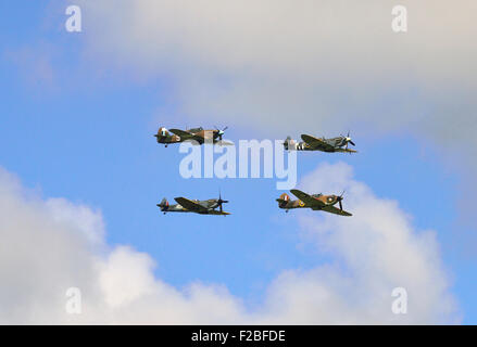 . 75th Anniversary Battle of Britain,  Amazing scenes in the sky above Goodwood Aerodrome today . A flypast involving - Stock Photo