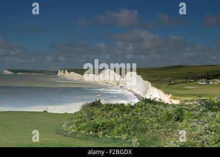 View towards The Seven Sisters Cliffs,  from  Birling Gap, South Downs National Park, East Sussex, England, Uk, - Stock Photo