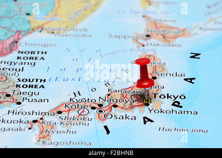 Tokyo pinned on a map of Asia - Stock Photo