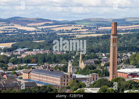 Landscape view of 'The Stack' retail leisure park and the 1800`s 'Cox`s Stack' Camperdown Works Jute Mill in Lochee - Stock Photo