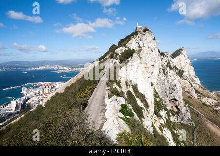 Sheer white rock mountainside the Rock of Gibraltar, British territory in southern Europe - Stock Photo