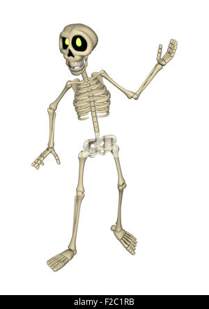 3D digital render of a cartoon human skeleton isolated on white background - Stock Photo