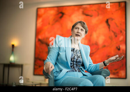 Berlin, Germany. 16th Sep, 2015. Helen Clark, director of the United Nations Development Programme (UNDP), speaks - Stock Photo