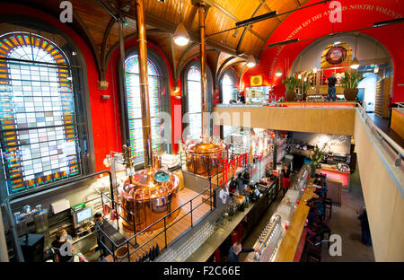 The Jopen micro-brewery Haarlem, Netherlands, in the old Jacobskerk, now known as the 'Jopenkerk', in the Raaks - Stock Photo