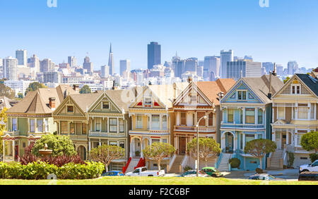 San Francisco skyline with Painted Ladies buildings at Alamo Square, USA. - Stock Photo