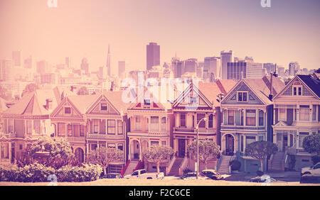 Retro vintage filtered photo of San Francisco skyline, old film style, USA. - Stock Photo