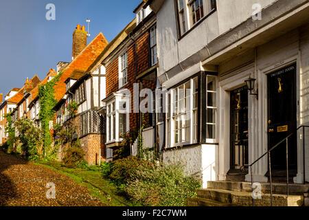 Period Houses In Mermaid Street, Rye, Sussex, UK - Stock Photo
