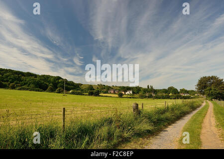 Cloud formation over the Broad Town escarpment. - Stock Photo