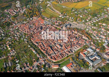France, Bas Rhin (67), Obernai town (aerial view)  // Bas Rhin (67), ville d'Obernai (vue aerienne) - Stock Photo