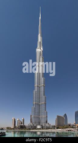 The Burj Khalifa tower a megatall skyscraper in Dubai, United Arab Emirates. It is the tallest artificial structure - Stock Photo