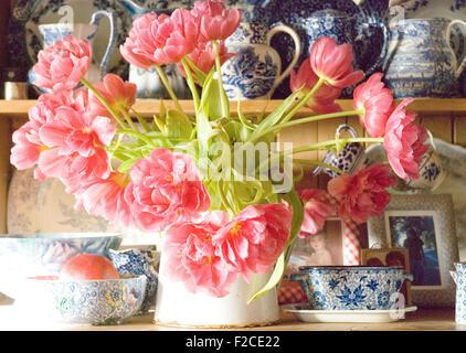 English Flowers In A Blue Vase Deutsch Blumen In Blauer Vase