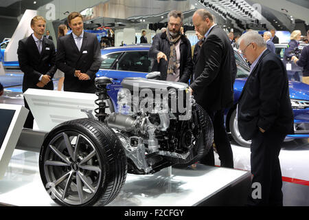 Frankfurt/M, 16.09.2015 -  Engine for a A4 Quattro at the AUDI stand at the 66th International Motor Show IAA 2015 - Stock Photo