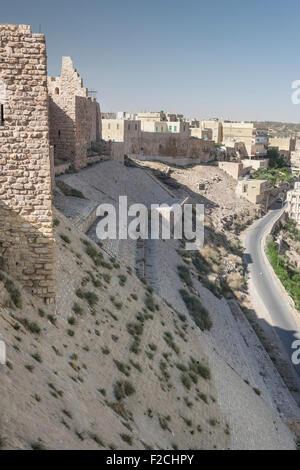 Northeast wall and glacis of Kerak (Karak) Castle in Jordan - Stock Photo