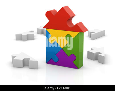 House puzzle , This is a computer generated and 3d rendered picture. - Stock Photo