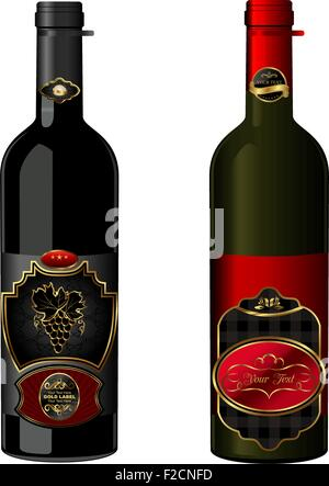 Illustration of wine bottles with attached vintage labels - Stock Photo