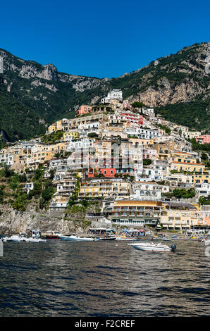 The charming coastal resort village of Positano, Amalfi Coast, Italy - Stock Photo