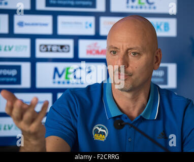 Berlin, Germany. 16th Sep, 2015. Heads coach to ALBA Berlin Sasa Obradovic at a press conference in Berlin, Germany, - Stock Photo