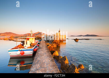 View of the port in Naousa village on Paros island, Greece - Stock Photo