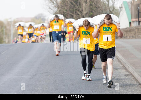 Chris Birkin leads the pack on his way to winning the 2014 World Coal Carrying Championship. - Stock Photo
